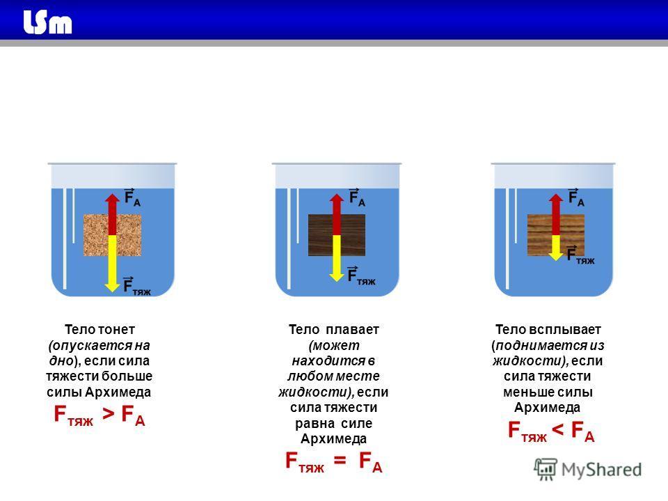 Тело тонет (опускается на дно), если сила тяжести больше силы Архимеда F тяж > F А Тело плавает (может находится в любом месте жидкости), если сила тяжести равна силе Архимеда F тяж = F А Тело всплывает (поднимается из жидкости), если сила тяжести ме