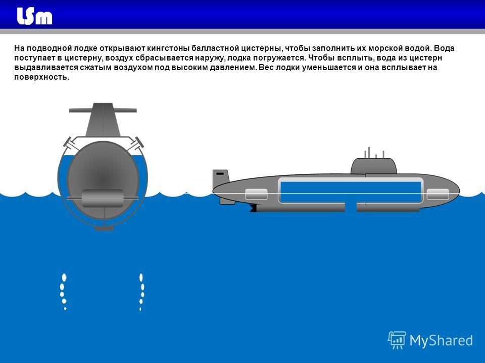 На подводной лодке открывают кингстоны балластной цистерны, чтобы заполнить их морской водой. Вода поступает в цистерну, воздух сбрасывается наружу, лодка погружается. Чтобы всплыть, вода из цистерн выдавливается сжатым воздухом под высоким давлением