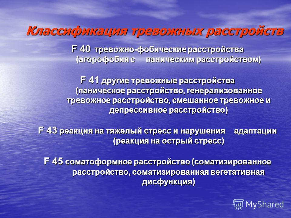 Классификация тревожных расстройств F 40 тревожно-фобические расстройства (агорофобия с паническим расстройством) (агорофобия с паническим расстройством) F 41 другие тревожные расстройства (паническое расстройство, генерализованное (паническое расстр