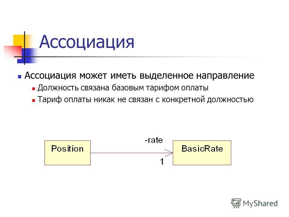 Ассоциация Ассоциация может иметь выделенное направление Должность связана базовым тарифом оплаты Тариф оплаты никак не связан с конкретной должностью