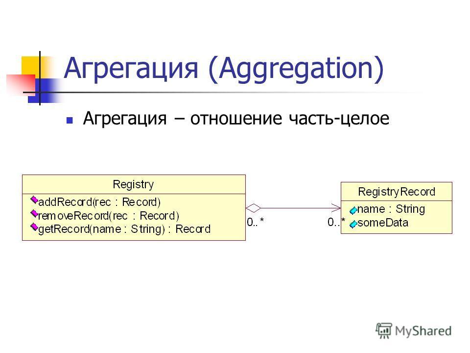 Агрегация (Aggregation) Агрегация – отношение часть-целое