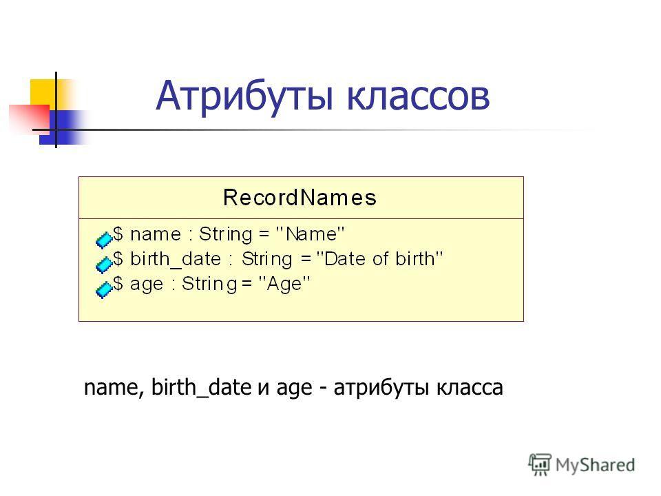 Атрибуты классов name, birth_date и age - атрибуты класса