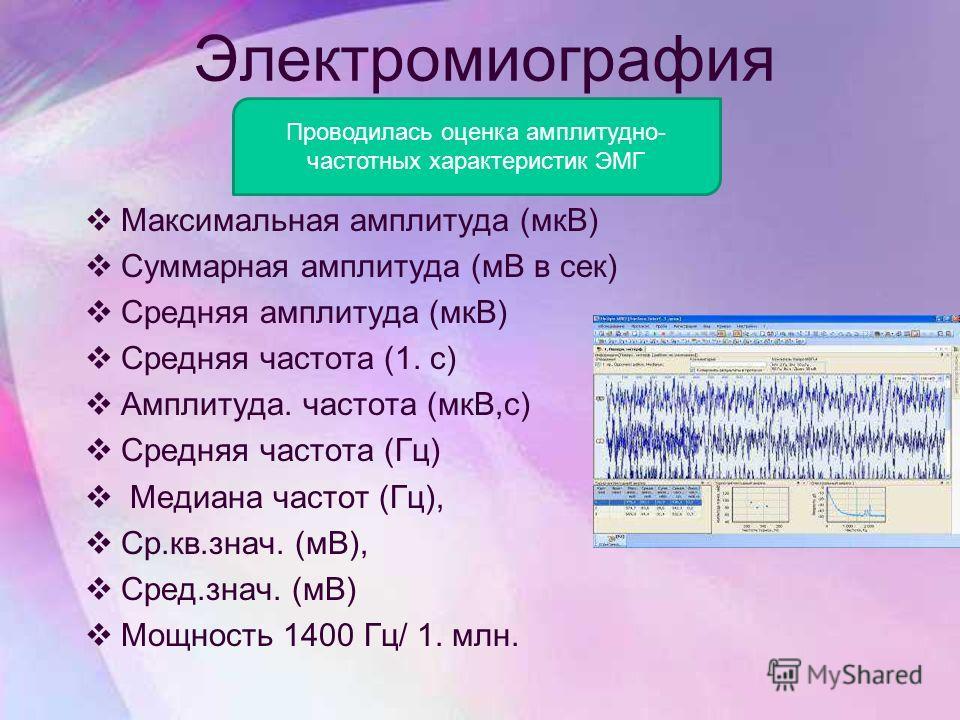 Электромиография Максимальная амплитуда (мкВ) Суммарная амплитуда (мВ в сек) Средняя амплитуда (мкВ) Средняя частота (1. с) Амплитуда. частота (мкВ,с) Средняя частота (Гц) Медиана частот (Гц), Ср.кв.знач. (мВ), Сред.знач. (мВ) Мощность 1400 Гц/ 1. мл