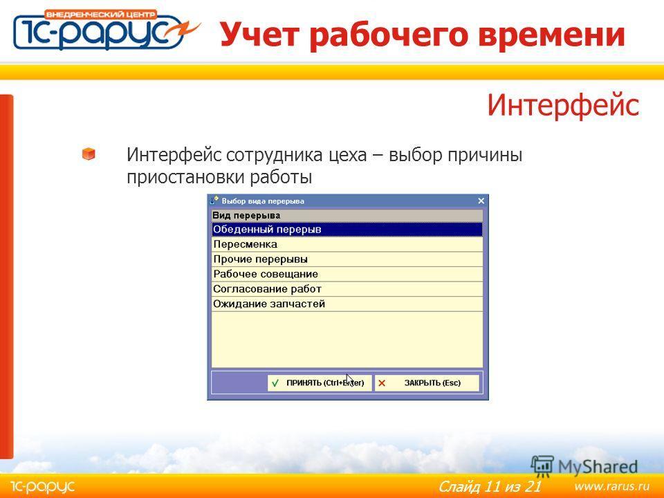 Слайд 11 из 21 Учет рабочего времени Интерфейс сотрудника цеха – выбор причины приостановки работы Интерфейс