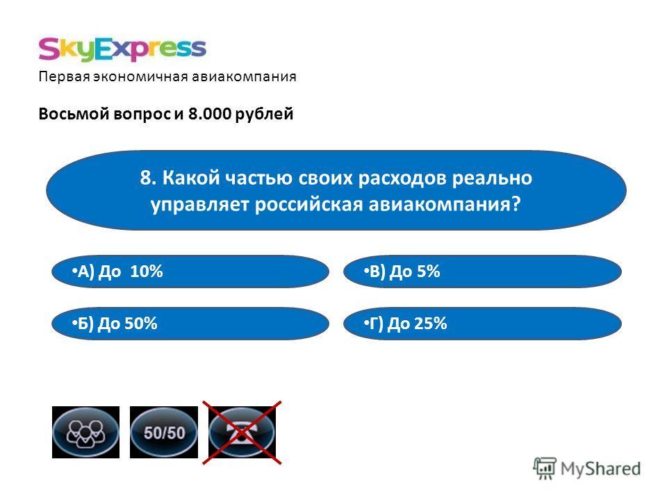 Первая экономичная авиакомпания Восьмой вопрос и 8.000 рублей 8. Какой частью своих расходов реально управляет российская авиакомпания? В) До 5% А) До 10% Б) До 50% Г) До 25%