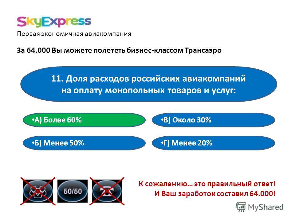 Первая экономичная авиакомпания За 64.000 Вы можете полететь бизнес-классом Трансаэро 11. Доля расходов российских авиакомпаний на оплату монопольных товаров и услуг: В) Около 30% А) Более 60% Б) Менее 50% Г) Менее 20% К сожалению… это правильный отв