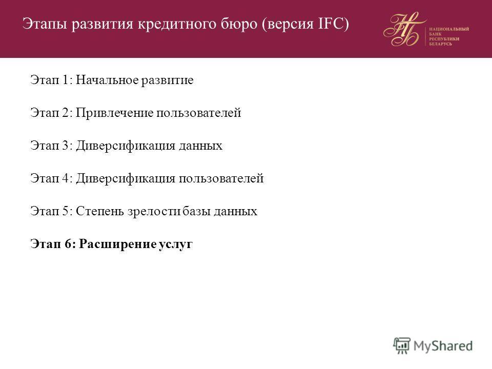 Этапы развития кредитного бюро (версия IFC) Этап 1: Начальное развитие Этап 2: Привлечение пользователей Этап 3: Диверсификация данных Этап 4: Диверсификация пользователей Этап 5: Степень зрелости базы данных Этап 6: Расширение услуг
