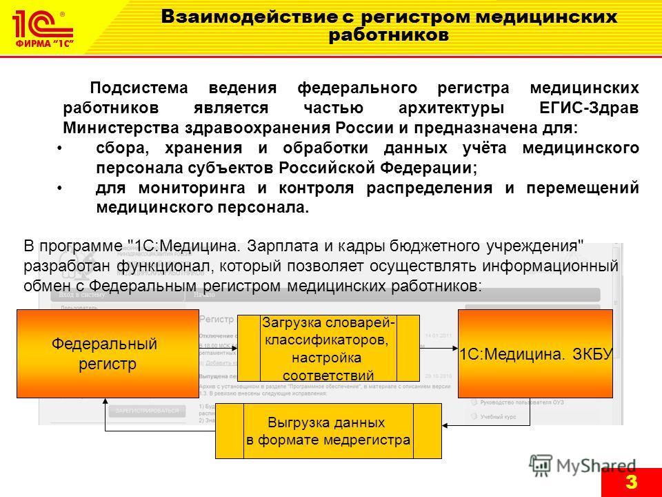 3 Взаимодействие с регистром медицинских работников Подсистема ведения федерального регистра медицинских работников является частью архитектуры ЕГИС-Здрав Министерства здравоохранения России и предназначена для: сбора, хранения и обработки данных учё