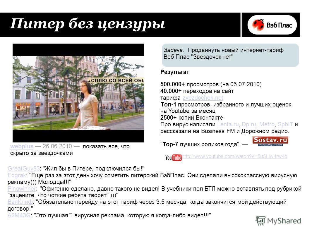 Питер без цензуры 500.000+ просмотров (на 05.07.2010) 40.000+ переходов на сайт тарифа zvezdochek.net Tоп-1 просмотров, избранного и лучших оценок на Youtube за месяцzvezdochek.net 2500+ копий Вконтакте Про вирус написали Lenta.ru, Dp.ru, Metro, SpbI