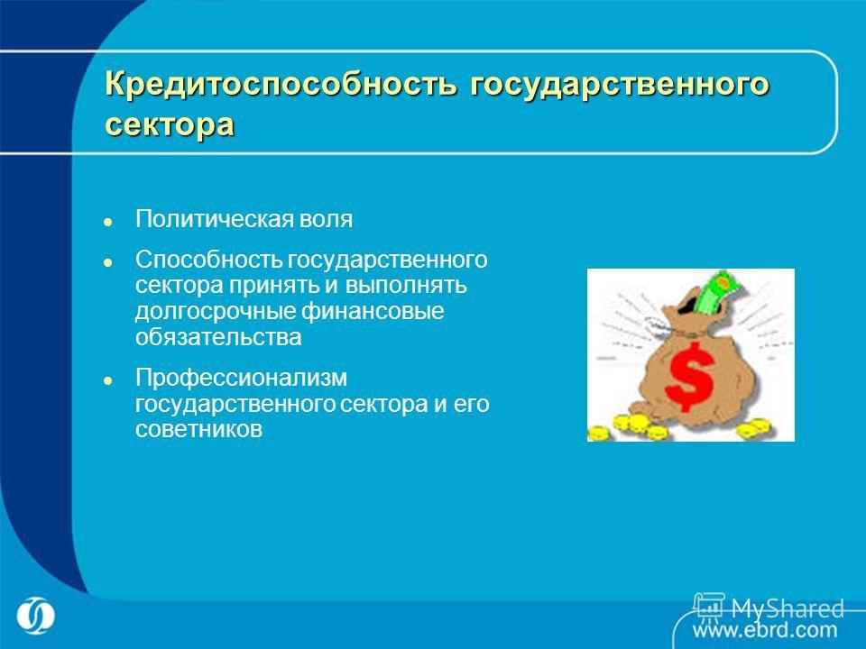 Кредитоспособность государственного сектора Политическая воля Способность государственного сектора принять и выполнять долгосрочные финансовые обязательства Профессионализм государственного сектора и его советников