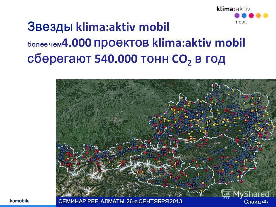 Слайд # СЕМИНАР РЕР, АЛМАТЫ, 26- е СЕНТЯБРЯ 2013 г Звезды klima:aktiv mobil более чем 4.000 проектов klima:aktiv mobil сберегают 540.000 тонн CO 2 в год