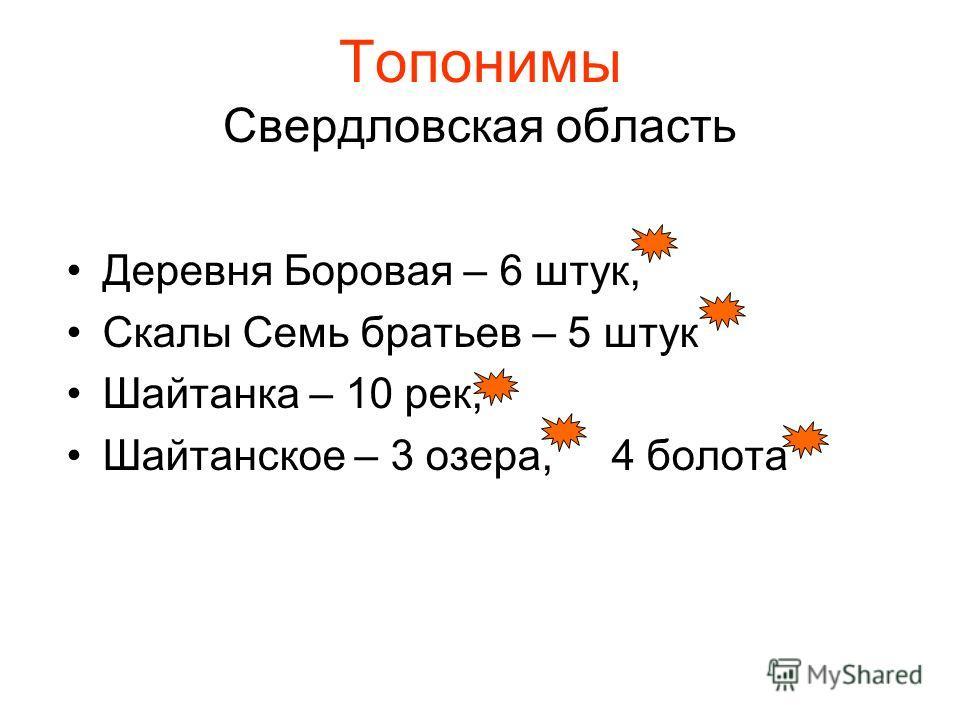 Топонимы Свердловская область Деревня Боровая – 6 штук, Скалы Семь братьев – 5 штук Шайтанка – 10 рек, Шайтанское – 3 озера, 4 болота