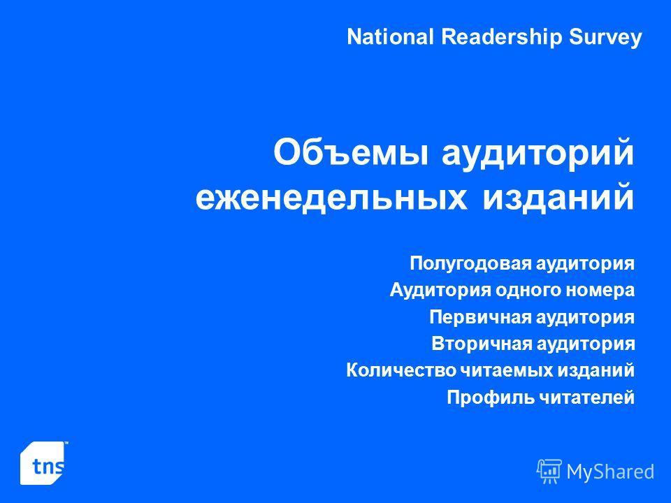 National Readership Survey Объемы аудиторий еженедельных изданий Полугодовая аудитория Аудитория одного номера Первичная аудитория Вторичная аудитория Количество читаемых изданий Профиль читателей
