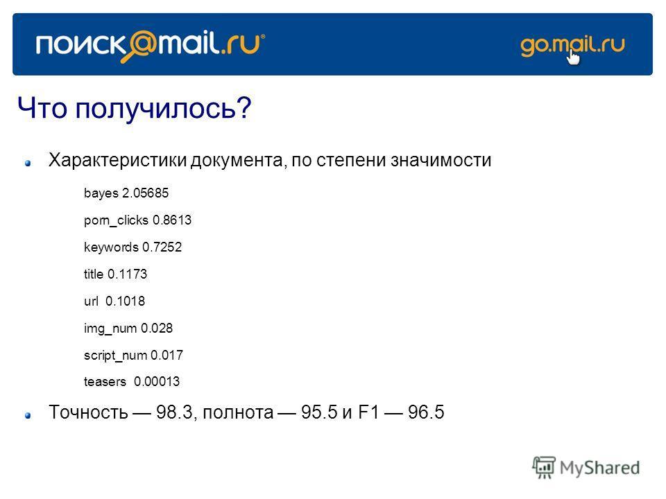 Что получилось? Характеристики документа, по степени значимости bayes 2.05685 porn_clicks 0.8613 keywords 0.7252 title 0.1173 url 0.1018 img_num 0.028 script_num 0.017 teasers 0.00013 Точность 98.3, полнота 95.5 и F1 96.5