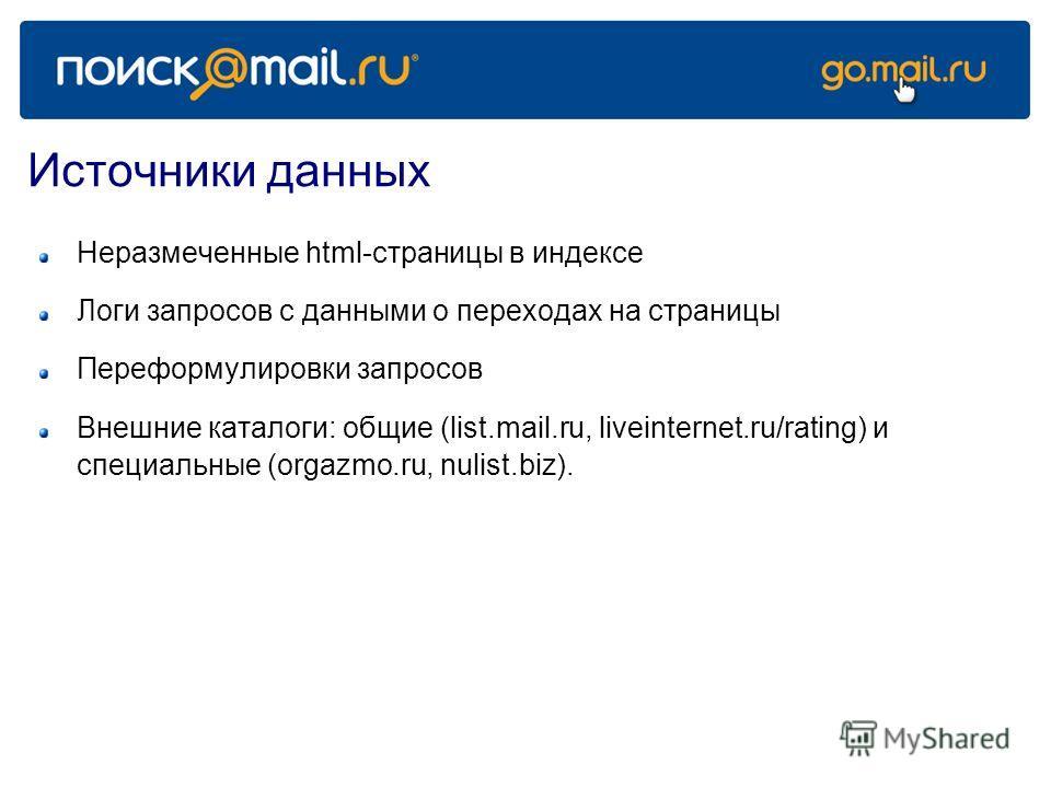 Источники данных Неразмеченные html-страницы в индексе Логи запросов с данными о переходах на страницы Переформулировки запросов Внешние каталоги: общие (list.mail.ru, liveinternet.ru/rating) и специальные (orgazmo.ru, nulist.biz).
