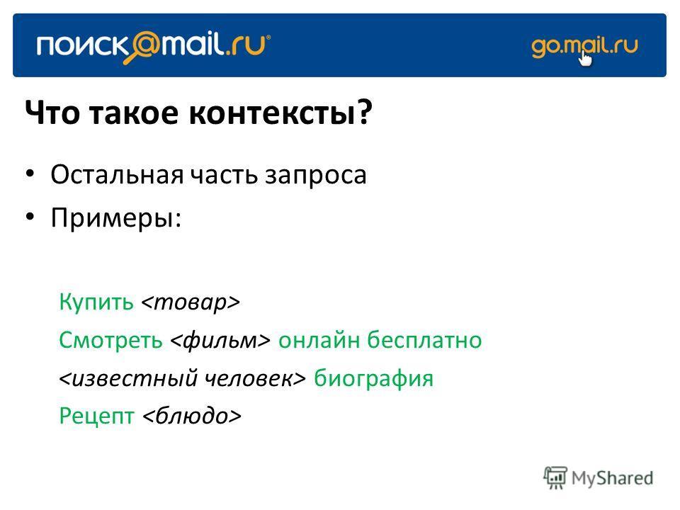Что такое контексты? Остальная часть запроса Примеры: Купить Смотреть онлайн бесплатно биография Рецепт