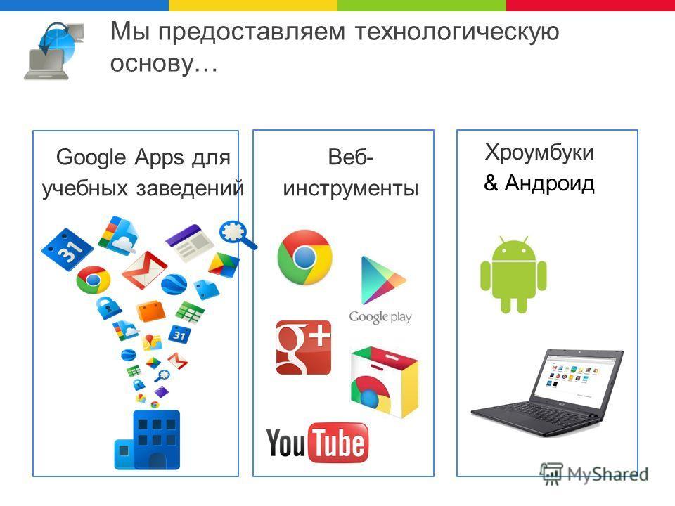Мы предоставляем технологическую основу… Google Apps для учебных заведений Хроумбуки & Андроид Веб- инструменты