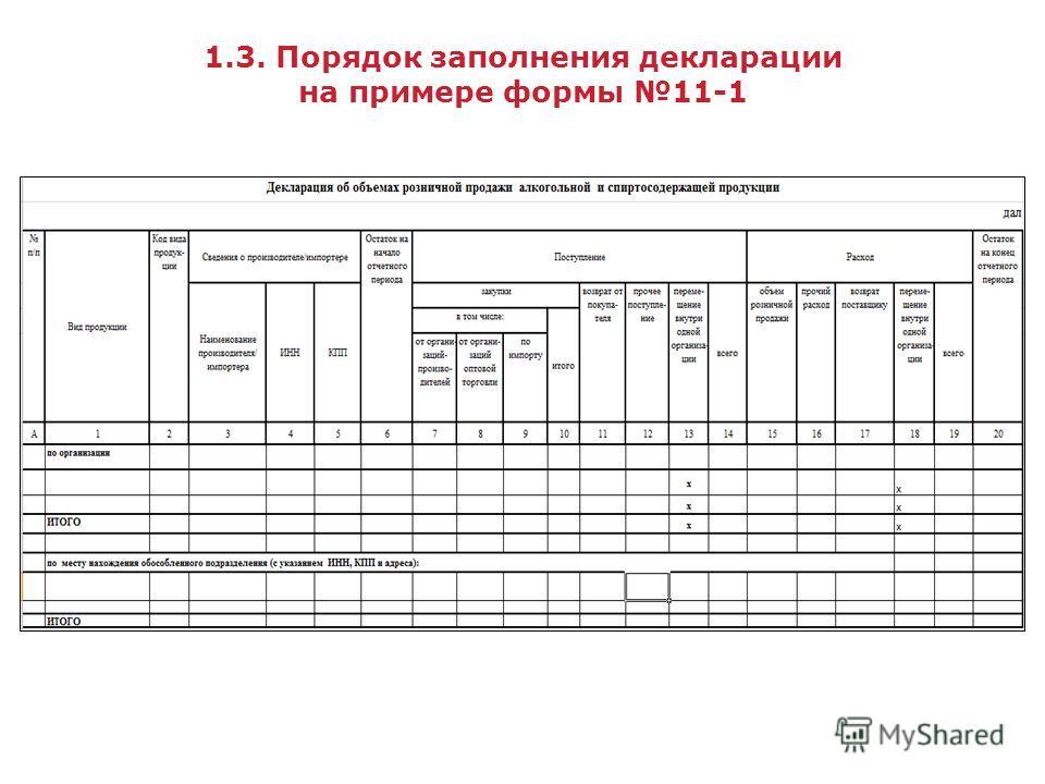 1.3. Порядок заполнения декларации на примере формы 11-1