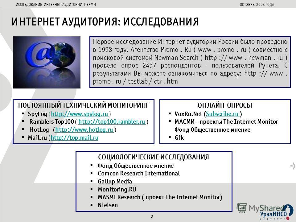 ИССЛЕДОВАНИЕ ИНТЕРНЕТ АУДИТОРИИ ПЕРМИОКТЯБРЬ 2008 ГОДА ПОСТОЯННЫЙ ТЕХНИЧЕСКИЙ МОНИТОРИНГ SpyLog (http://www.spylog.ru )http://www.spylog.ru Ramblers Top100 ( http://top100.rambler.ru )http://top100.rambler.ru HotLog (http://www.hotlog.ru )http://www.