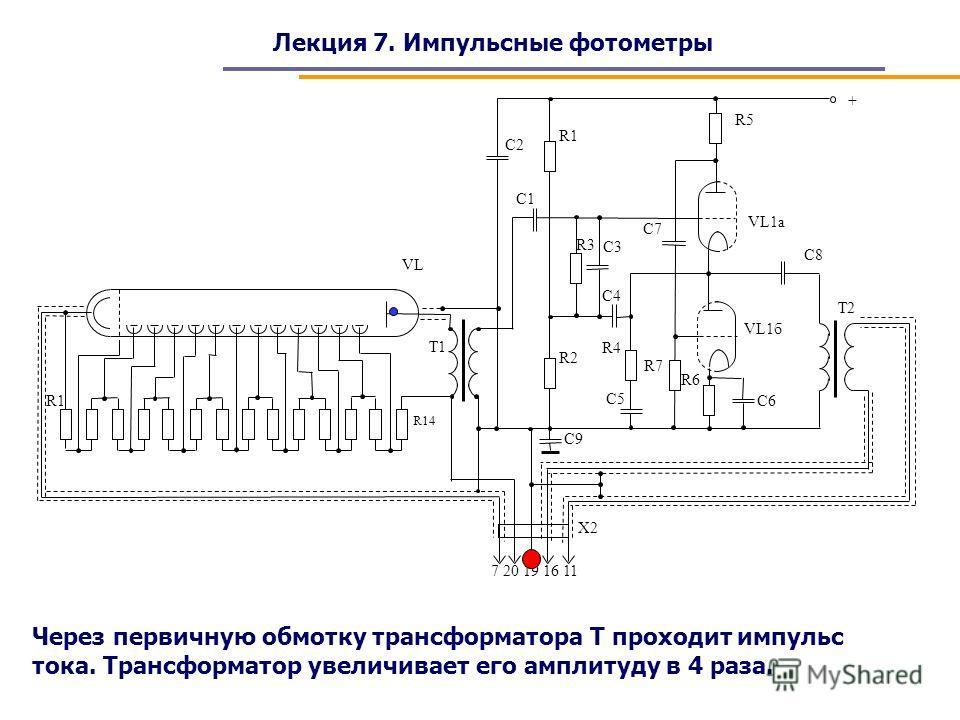 Лекция 7. Импульсные фотометры Через первичную обмотку трансформатора Т проходит импульс тока. Трансформатор увеличивает его амплитуду в 4 раза.