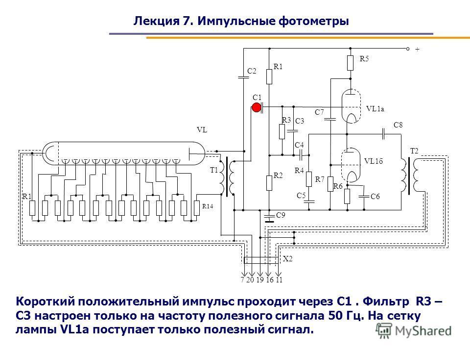 Лекция 7. Импульсные фотометры Короткий положительный импульс проходит через С1. Фильтр R3 – C3 настроен только на частоту полезного сигнала 50 Гц. На сетку лампы VL1a поступает только полезный сигнал.