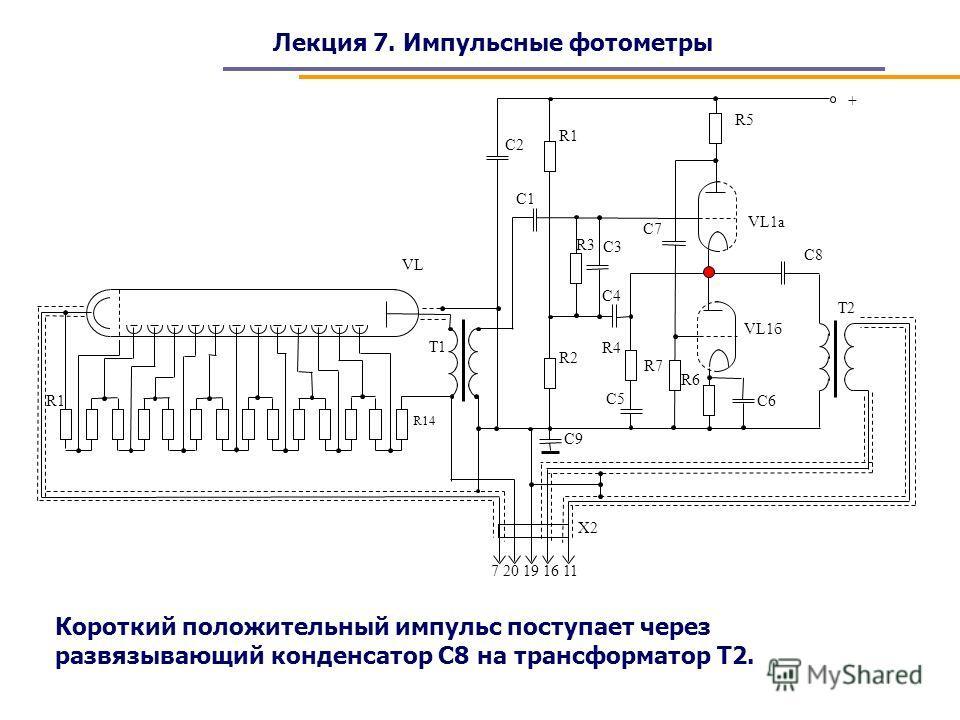 Лекция 7. Импульсные фотометры Короткий положительный импульс поступает через развязывающий конденсатор С8 на трансформатор Т2.