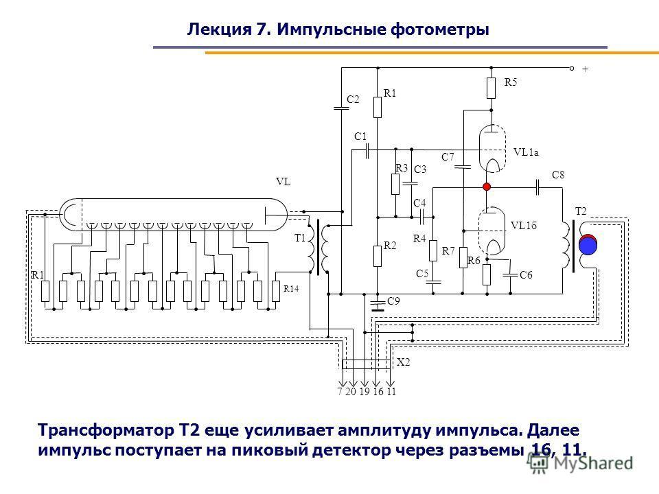 Лекция 7. Импульсные фотометры Трансформатор Т2 еще усиливает амплитуду импульса. Далее импульс поступает на пиковый детектор через разъемы 16, 11.