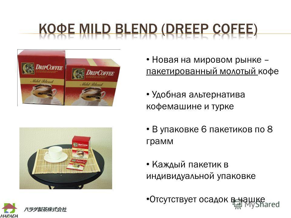 Новая на мировом рынке – пакетированный молотый кофе Удобная альтернатива кофемашине и турке В упаковке 6 пакетиков по 8 грамм Каждый пакетик в индивидуальной упаковке Отсутствует осадок в чашке