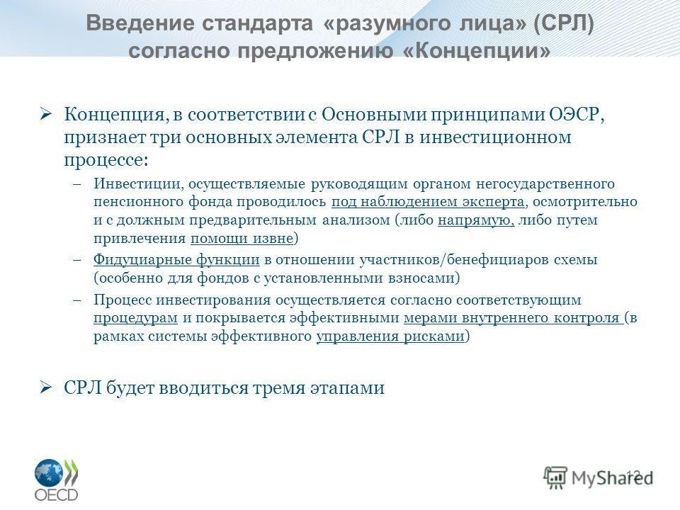 Концепция, в соответствии с Основными принципами ОЭСР, признает три основных элемента СРЛ в инвестиционном процессе: –Инвестиции, осуществляемые руководящим органом негосударственного пенсионного фонда проводилось под наблюдением эксперта, осмотрител