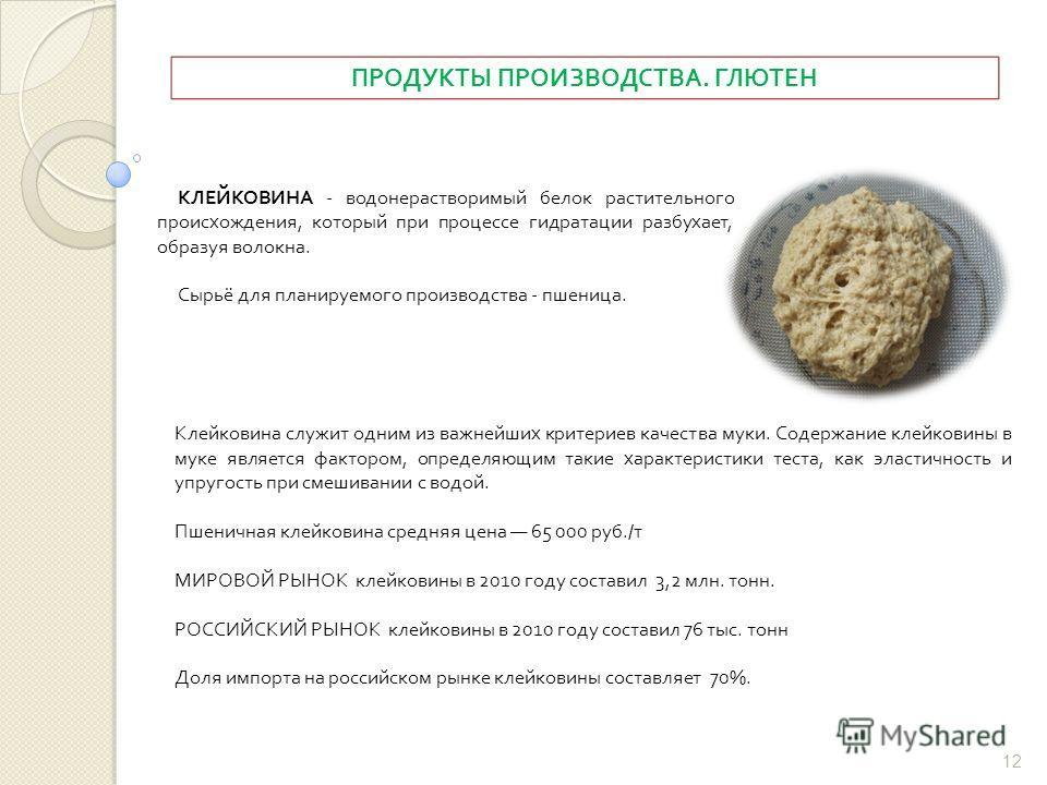 ПРОДУКТЫ ПРОИЗВОДСТВА. ГЛЮТЕН КЛЕЙКОВИНА - водонерастворимый белок растительного происхождения, который при процессе гидратации разбухает, образуя волокна. Сырьё для планируемого производства - пшеница. Клейковина служит одним из важнейших критериев