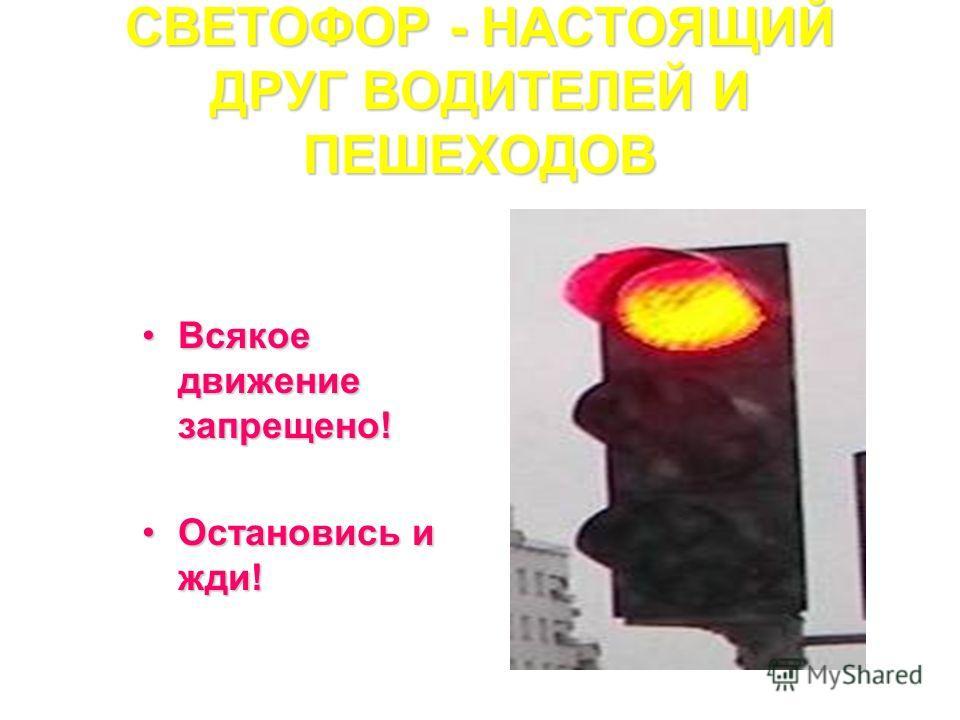 СВЕТОФОР - НАСТОЯЩИЙ ДРУГ ВОДИТЕЛЕЙ И ПЕШЕХОДОВ Всякое движение запрещено!Всякое движение запрещено! Остановись и жди!Остановись и жди!