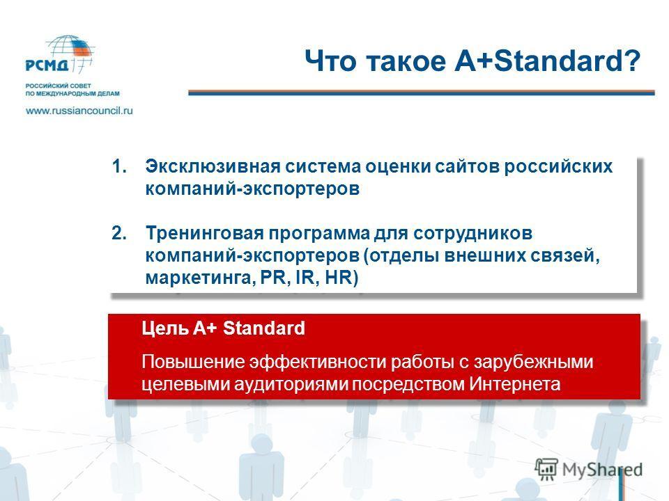 Что такое A+Standard? 1.Эксклюзивная система оценки сайтов российских компаний-экспортеров 2.Тренинговая программа для сотрудников компаний-экспортеров (отделы внешних связей, маркетинга, PR, IR, HR) 1.Эксклюзивная система оценки сайтов российских ко