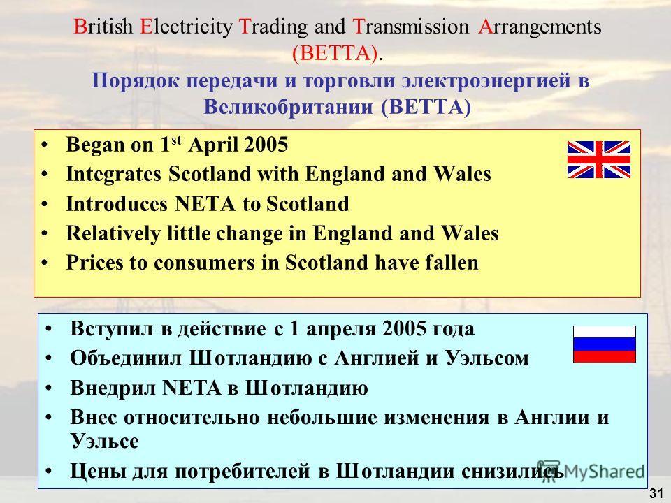 31 British Electricity Trading and Transmission Arrangements (BETTA). Порядок передачи и торговли электроэнергией в Великобритании (BETTA) Began on 1 st April 2005 Integrates Scotland with England and Wales Introduces NETA to Scotland Relatively litt