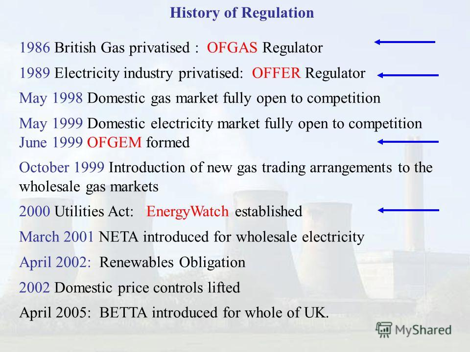 50 History of Regulation 1986 British Gas privatised : OFGAS Regulator 1989 Electricity industry privatised: OFFER Regulator May 1998 Domestic gas market fully open to competition May 1999 Domestic electricity market fully open to competition June 19