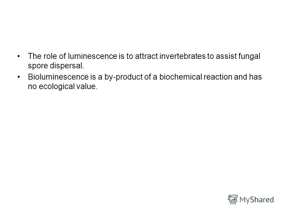 The role of luminescence is to attract invertebrates to assist fungal spore dispersal. Bioluminescence is a by-product of a biochemical reaction and has no ecological value.
