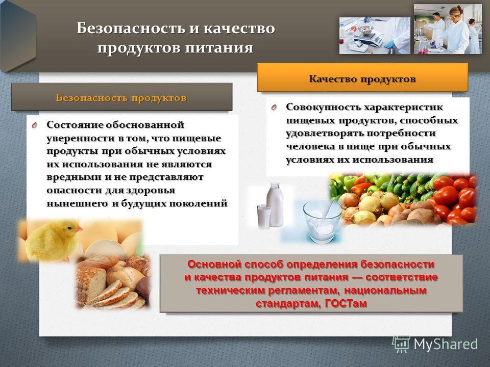 Безопасность и качество продуктов питания Безопасность продуктов O Состояние обоснованной уверенности в том, что пищевые продукты при обычных условиях их использования не являются вредными и не представляют опасности для здоровья нынешнего и будущих