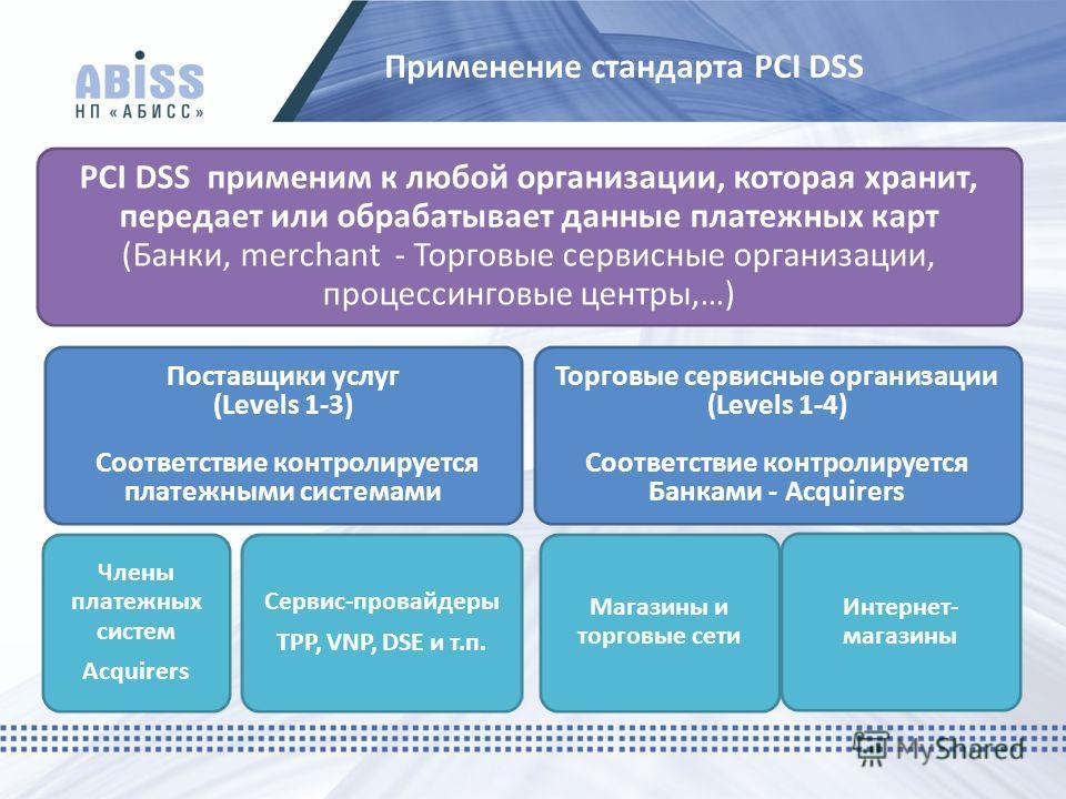 Применение стандарта PCI DSS PCI DSS применим к любой организации, которая хранит, передает или обрабатывает данные платежных карт (Банки, merchant - Торговые сервисные организации, процессинговые центры,…) Поставщики услуг (Levels 1-3) Соответствие