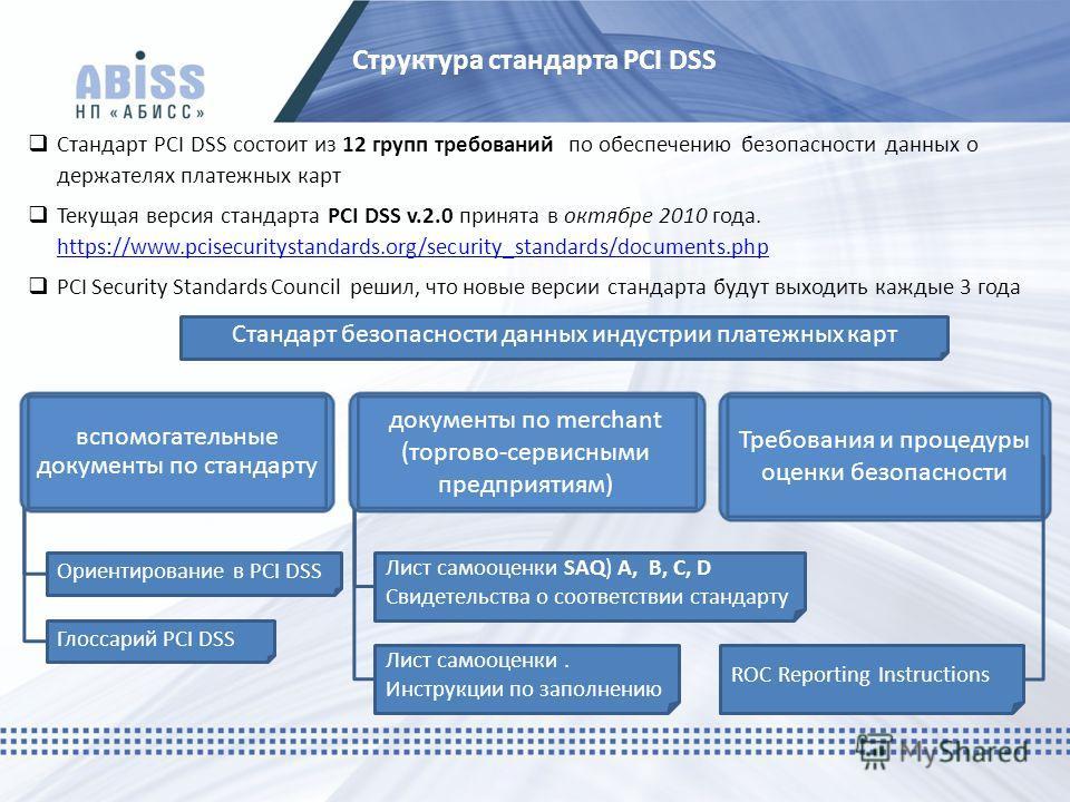 Структура стандарта PCI DSS Стандарт PCI DSS состоит из 12 групп требований по обеспечению безопасности данных о держателях платежных карт Текущая версия стандарта PCI DSS v.2.0 принята в октябре 2010 года. https://www.pcisecuritystandards.org/securi
