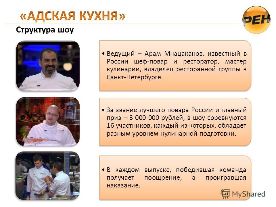 Ведущий – Арам Мнацаканов, известный в России шеф-повар и ресторатор, мастер кулинарии, владелец ресторанной группы в Санкт-Петербурге. За звание лучшего повара России и главный приз – 3 000 000 рублей, в шоу соревнуются 16 участников, каждый из кото