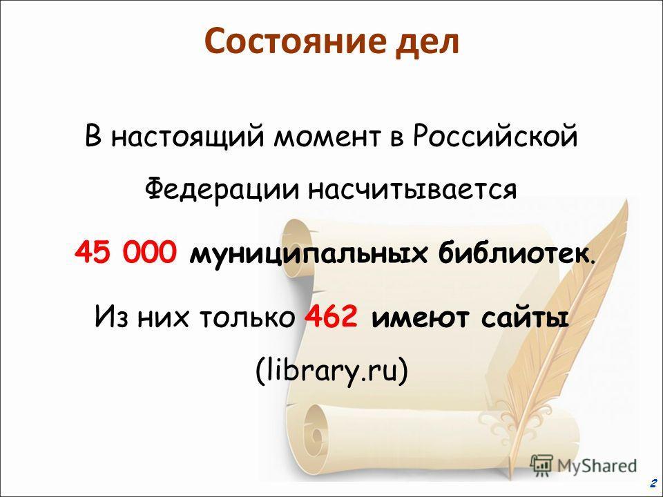 2 В настоящий момент в Российской Федерации насчитывается 45 000 муниципальных библиотек. Из них только 462 имеют сайты (library.ru) Состояние дел
