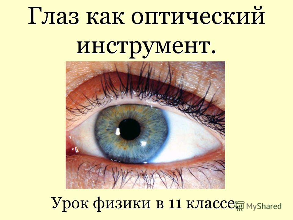 Глаз как оптический инструмент. Урок физики в 11 классе.