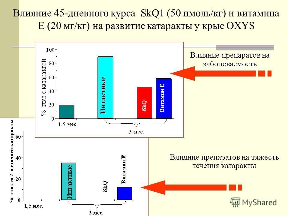 Влияние препаратов на заболеваемость крыс OXYS катарактой Влияние препаратов на тяжесть течения катаракты Влияние 45-дневного курса SkQ1 (50 нмоль/кг) и витамина Е (20 мг/кг) на развитие катаракты у крыс OXYS Влияние препаратов на заболеваемость