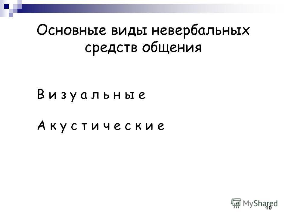 Основные виды невербальных средств общения В и з у а л ь н ы е А к у с т и ч е с к и е 10