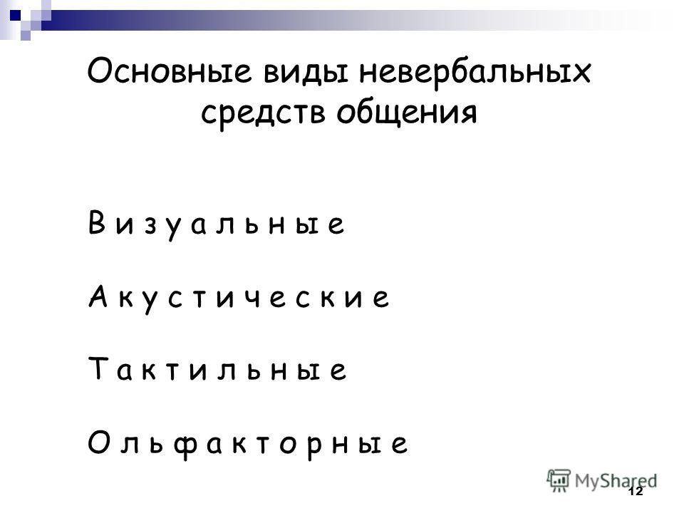 Основные виды невербальных средств общения В и з у а л ь н ы е А к у с т и ч е с к и е Т а к т и л ь н ы е О л ь ф а к т о р н ы е 12