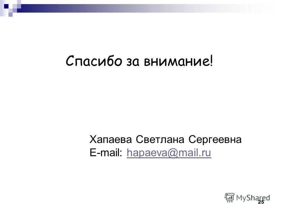 Хапаева Светлана Сергеевна E-mail: hapaeva@mail.ruhapaeva@mail.ru Спасибо за внимание! 25
