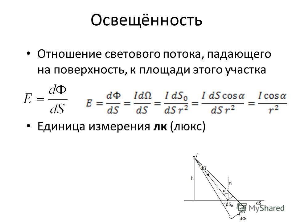 Освещённость Отношение светового потока, падающего на поверхность, к площади этого участка Единица измерения лк (люкс)