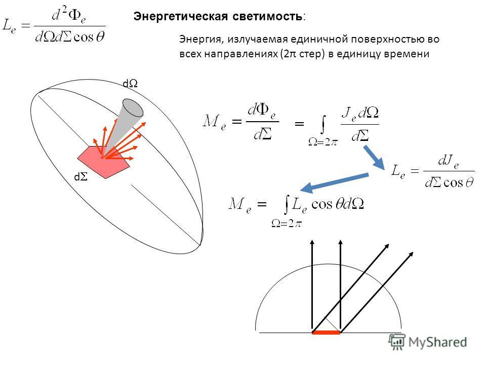 d d Энергетическая светимость: Энергия, излучаемая единичной поверхностью во всех направлениях (2π стер) в единицу времени