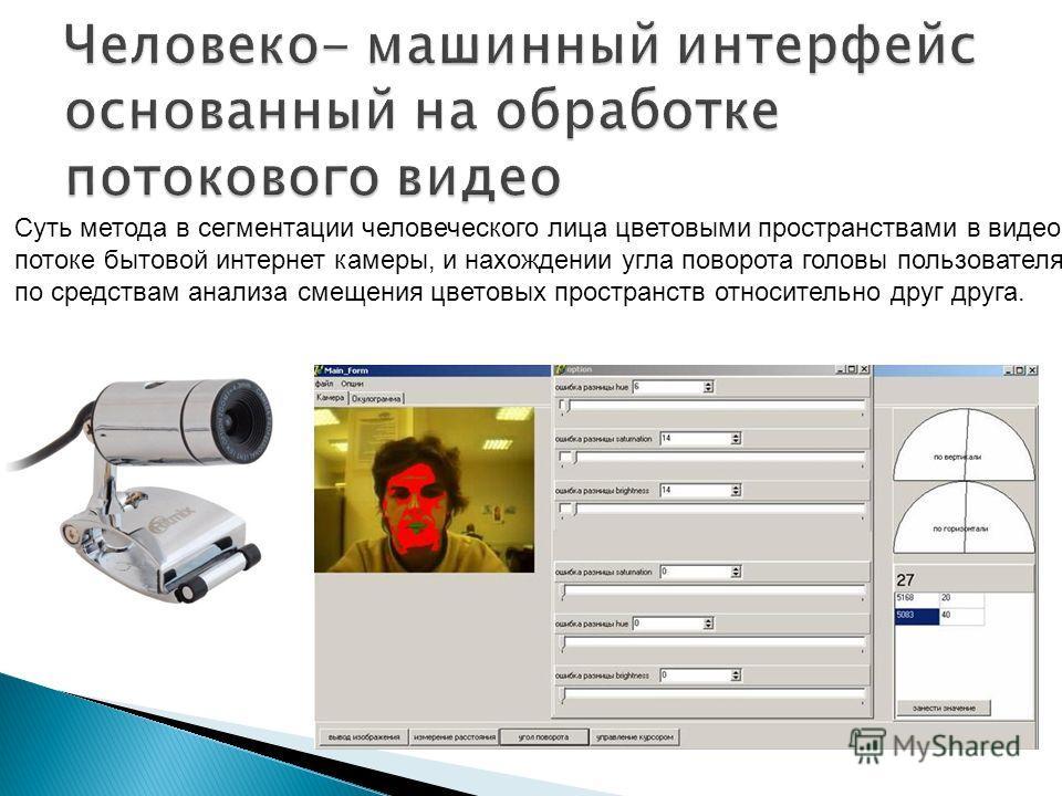 Суть метода в сегментации человеческого лица цветовыми пространствами в видео потоке бытовой интернет камеры, и нахождении угла поворота головы пользователя по средствам анализа смещения цветовых пространств относительно друг друга.