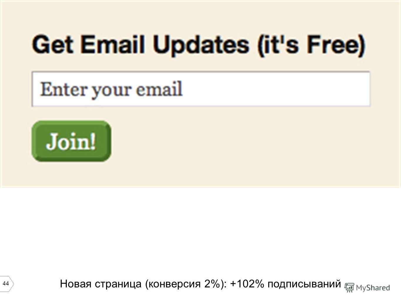 44 Новая страница (конверсия 2%): +102% подписываний