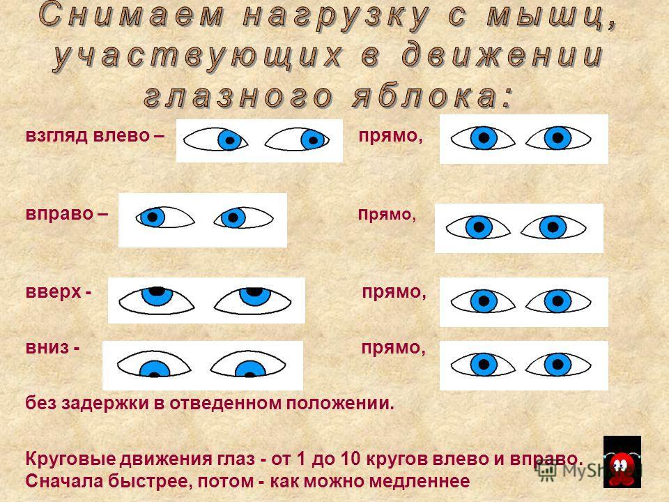 взгляд влево – прямо, вправо – п рямо, вверх - прямо, вниз - прямо, без задержки в отведенном положении. Круговые движения глаз - от 1 до 10 кругов влево и вправо. Сначала быстрее, потом - как можно медленнее